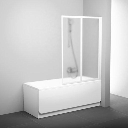 Шторка для ванны Ravak Supernova VS2 105, 1050 мм, цвет профиля - белый лак, витраж - grape (матовое с эффектом шагрени), 796M0100ZG