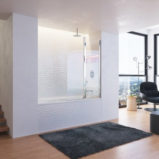 Шторка для ванны Ravak Chrome CVS2-100 L, 1000 мм, цвет профиля - белый лак, витраж - прозрачный, 7QLA0100Z1