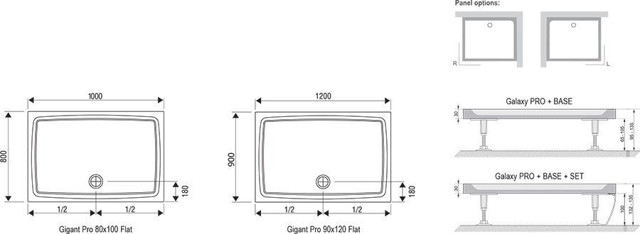 Поддон Ravak  GIGANT PRO 100x80 Flat белый, XA03A411010