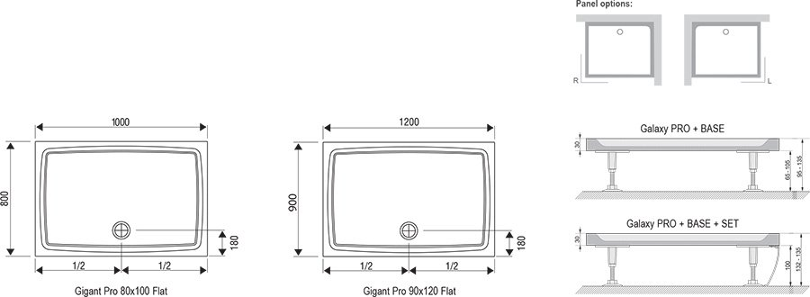 Поддон Ravak  GIGANT PRO 120x80 Flat белый, XA03G411010