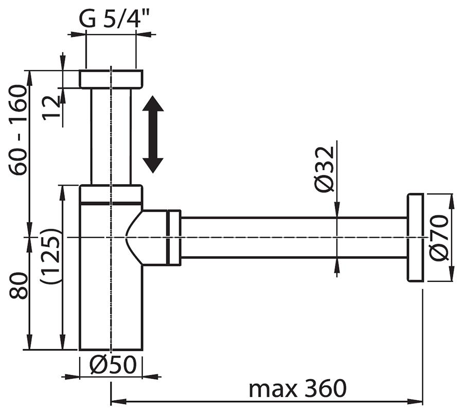 сифон для умывальника ХРОМ, X01371