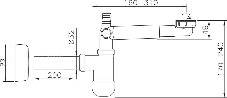 Сифон для умывальника универсальный, X01612