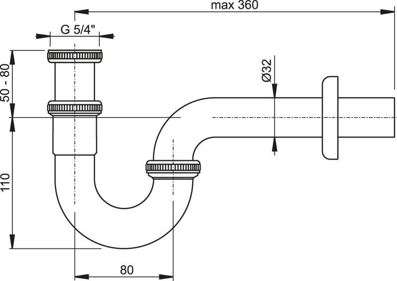 Сифон для умывальника U-образный хром, X01436