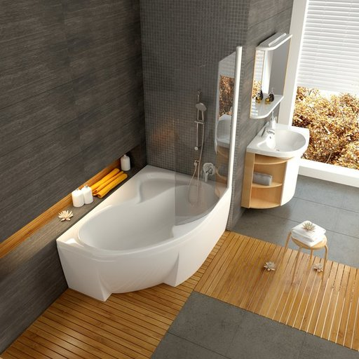 Шторка для ванны Ravak Chrome CVSK1 ROSA, 1000 мм, цвет профиля - белый лак, витраж - прозрачный, 7QRS0100Y1