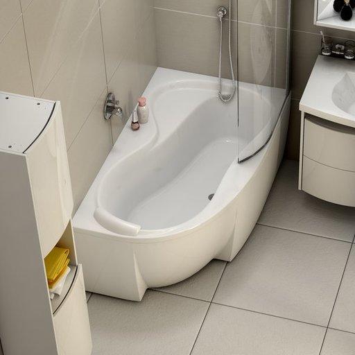 Шторка для ванны Ravak Chrome CVSK1 ROSA 160/170, левая, цвет профиля - сатин, витраж - прозрачный, 7QLS0U00Y1
