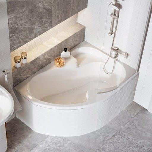 Шторка для ванны Ravak Chrome CVSK1 ROSA, 850 мм, цвет профиля - белый лак, витраж - прозрачный, 7QLM0100Y1