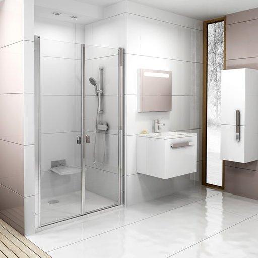 Душевая дверь Ravak Chrome CSDL2-90, 900 мм, цвет профиля - белый лак, витраж - прозрачный, 0QV7C10LZ1