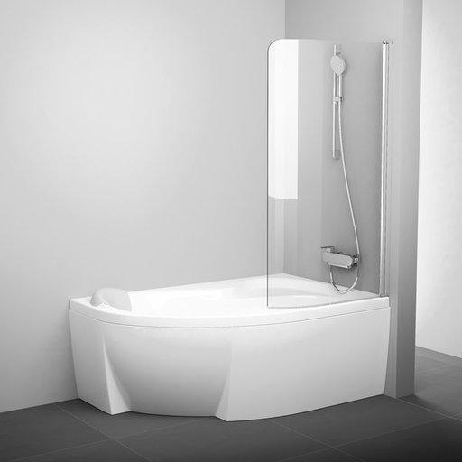 Шторка для ванны Ravak Chrome CVSK1 ROSA, 850 мм, цвет профиля - белый лак, витраж - прозрачный, 7QRM0100Y1