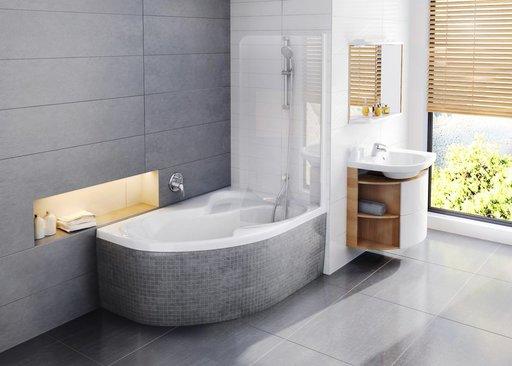 Шторка для ванны Ravak Chrome CVSK1 ROSA, 850 мм, цвет профиля - сатин, витраж - прозрачный, 7QLM0U00Y1
