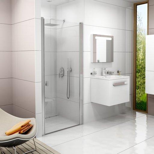 Душевая дверь Ravak Chrome CSD1-90, 900 мм, цвет профиля - сатин, витраж - прозрачный, 0QV70U00Z1