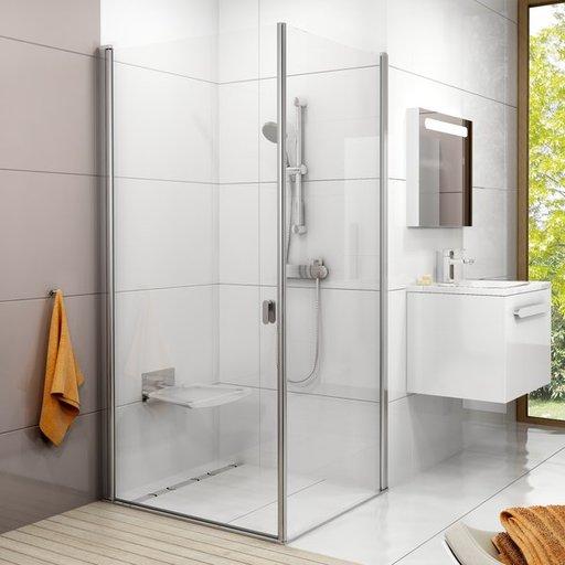 Душевая дверь Ravak Chrome CRV1-80, 800 мм, цвет профиля - сатин, витраж - прозрачный, 1QV40U01Z1