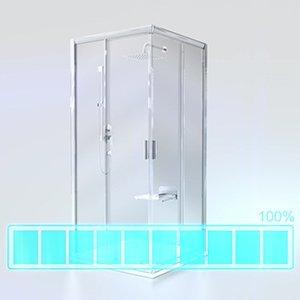 Душевой уголок Ravak Blix BLCP4-90, 900х900 мм, цвет профиля - белый лак, витраж - grape (матовое с эффектом шагрени), 3B270100ZG