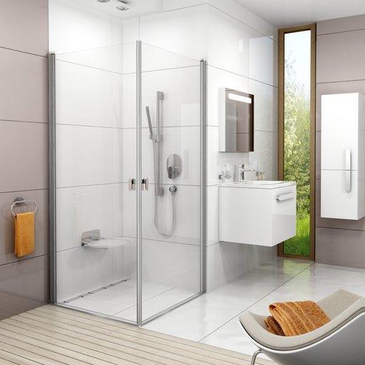 Душевая дверь Ravak Chrome CRV1-90, 900 мм, цвет профиля - сатин, витраж - прозрачный, 1QV70U01Z1
