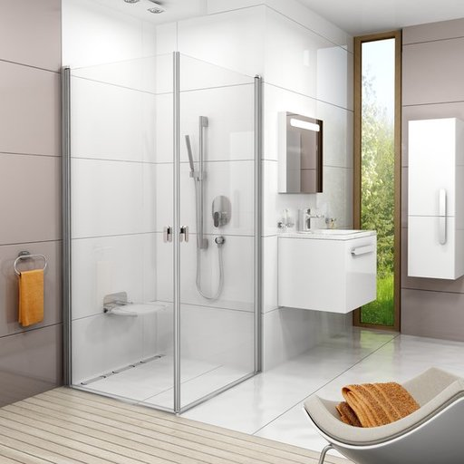 Душевая дверь Ravak Chrome CRV1-90, 900 мм, цвет профиля - белый лак, витраж - прозрачный, 1QV70101Z1