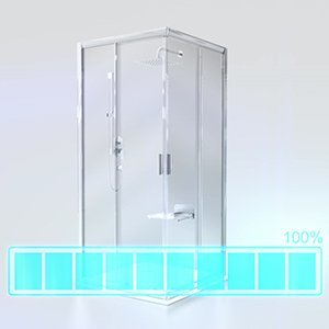 Душевая стенка для уголка Ravak Blix BLPS-100, цвет профиля - блестящий, витраж - прозрачный, 9BHA0C00Z1