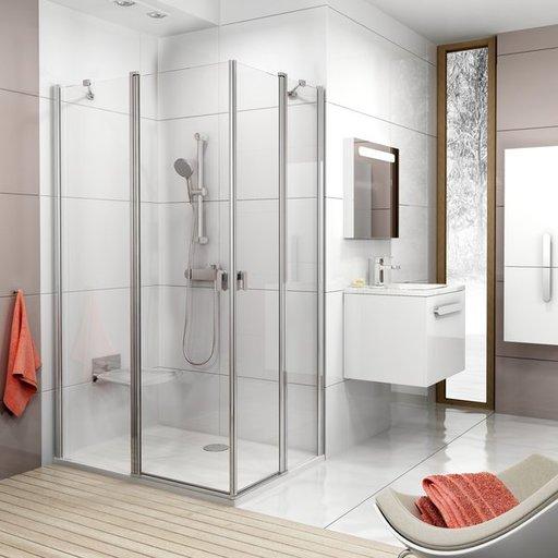 Душевая дверь Ravak Chrome CRV2-90, 900 мм, цвет профиля - сатин, витраж - прозрачный, 1QV70U00Z1