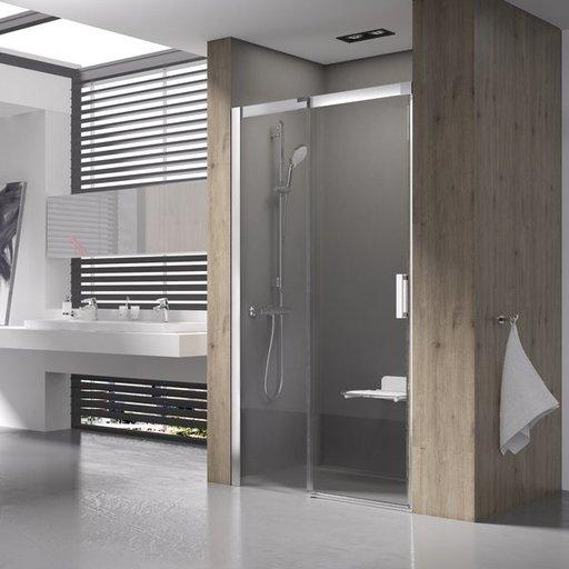 Душевая дверь Ravak MATRIX MSD2-100, левая, 1000 мм, цвет профиля - сатин, витраж - прозрачный, 0WLA0U00Z1