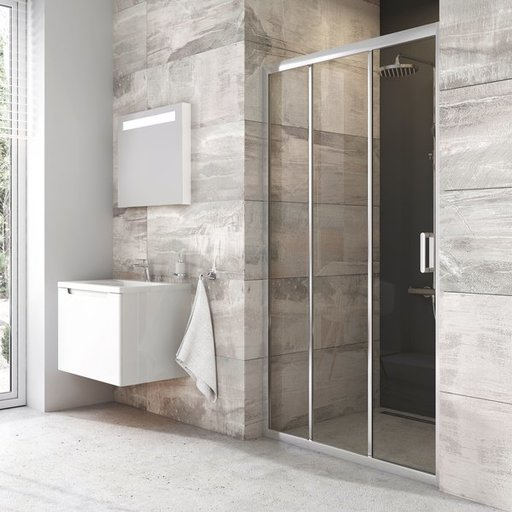 Душевая дверь Ravak BLIX BLDP3-90 , 900 мм, цвет профиля - блестящий, витраж - прозрачный, X00H70C00Z1