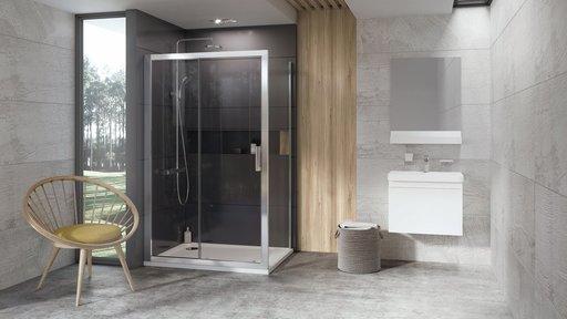 Душевая дверь Ravak 10° 10DP2-110, 1100 мм, цвет профиля - сатин, витраж - прозрачный, 0ZVD0U00Z1