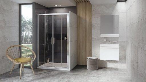 Душевая дверь Ravak 10° 10DP4-140 , 1400 мм, цвет профиля - белый лак, витраж - прозрачный, 0ZKM0100Z1