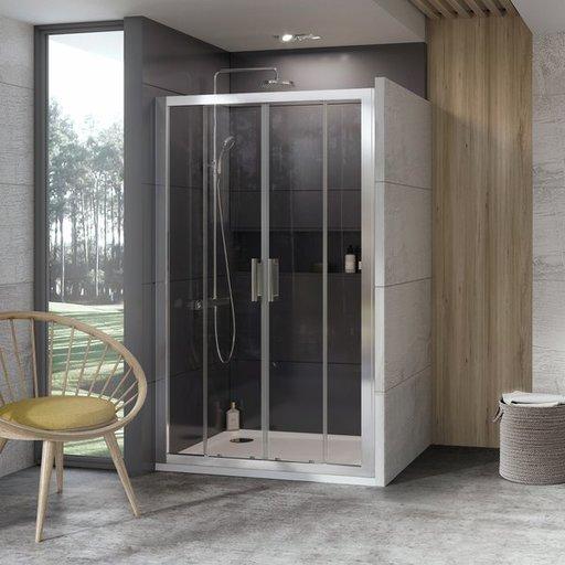 Душевая дверь Ravak 10° 10DP4-150 , 1500 мм, цвет профиля - блестящий, витраж - прозрачный, 0ZKP0C00Z1