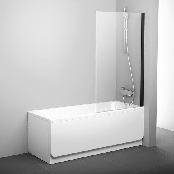 Шторка для ванны Ravak Pivot PVS1-80 че, 800 мм, цвет профиля - черный, витраж - прозрачный, 79840300Z1