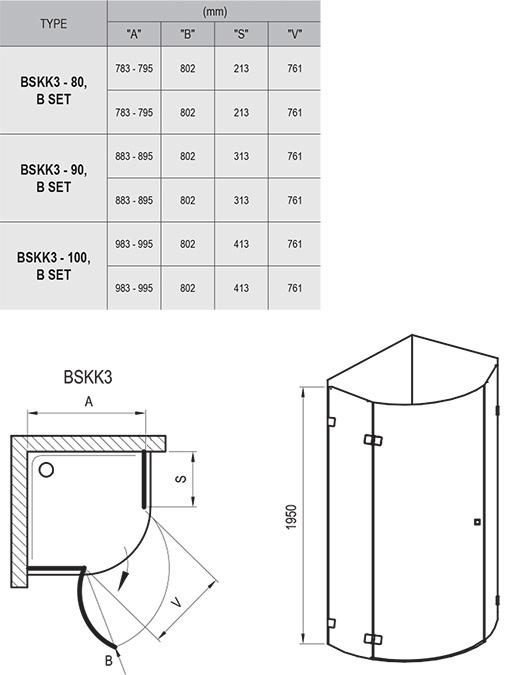 Душевой уголок Ravak Brilliant BSKK3-80 , 800х800 мм, левый, цвет профиля - хром, витраж - прозрачный, 3UL44A00Y1