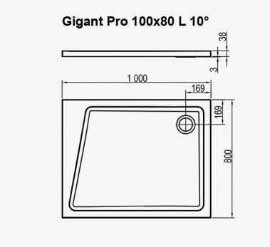 Поддон Ravak  GIGANT PRO 100x80 L 10° белый, XA05A40101L