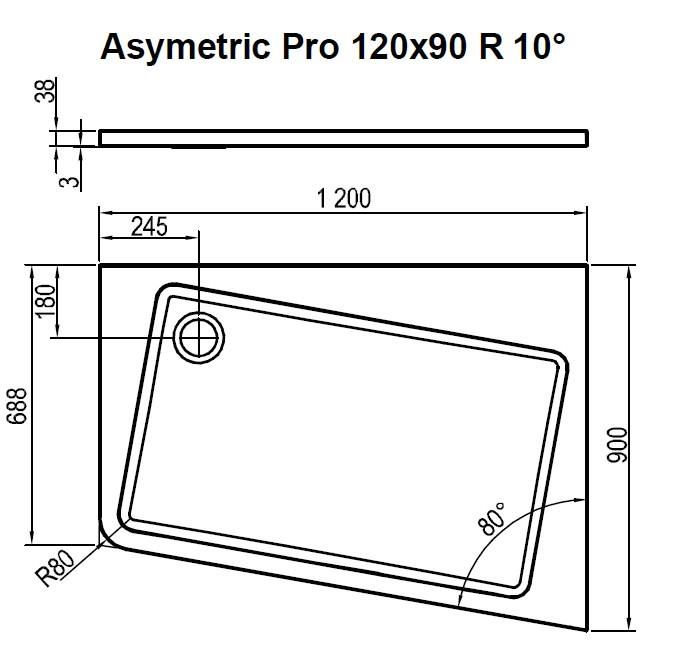 Поддон Ravak  ASYMETRIC PRO 120x90 R 10° белый, XA25G70101P