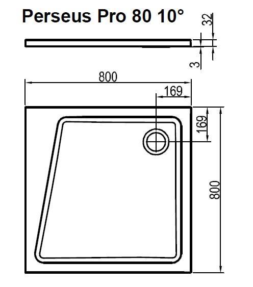 Поддон Ravak  PERSEUS PRO-80 10° белый, XA054401010