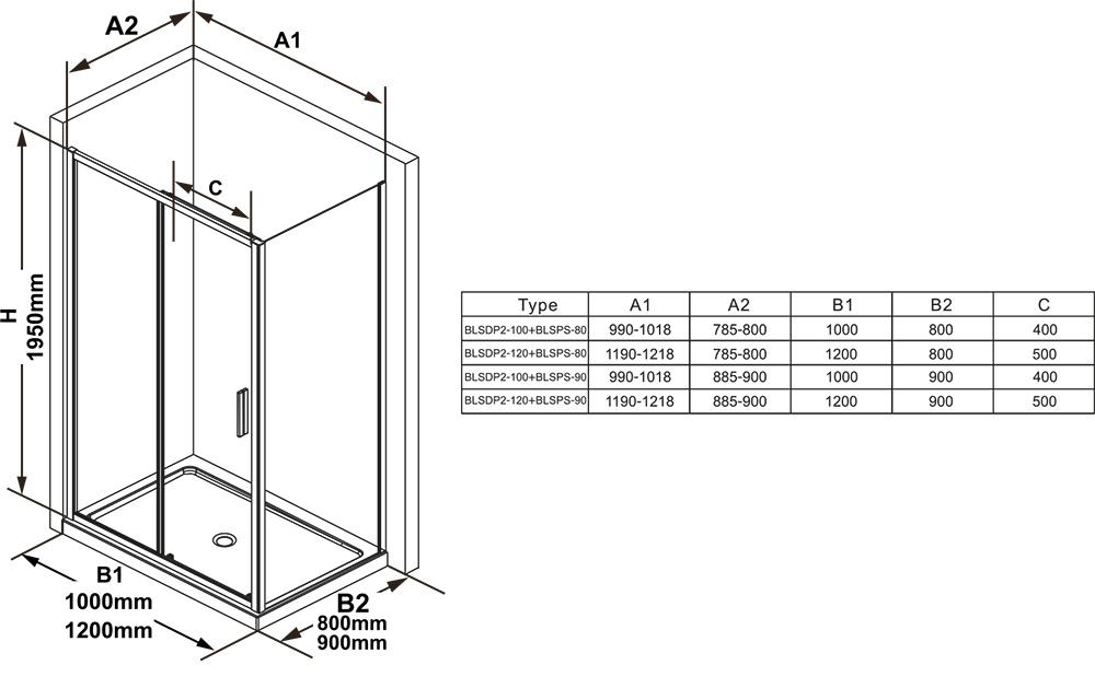 Душевая стенка для уголка Ravak BLIX SLIM BLSPS-90, цвет профиля - блестящий, витраж - прозрачный, X9BM70C00Z1