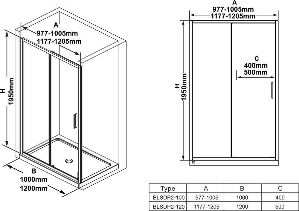 Душевая дверь Ravak BLIX SLIM BLSDP2-1, 1200 мм, цвет профиля - блестящий, витраж - прозрачный, X0PMG0C00Z1