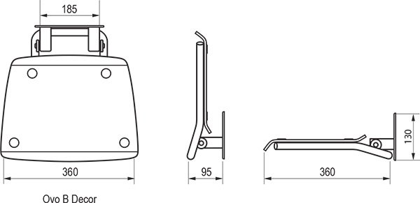 Унивеpсальное сиденье для душа Ravak OVO-B-TEXT, цвет белый + черный, B8F0000030
