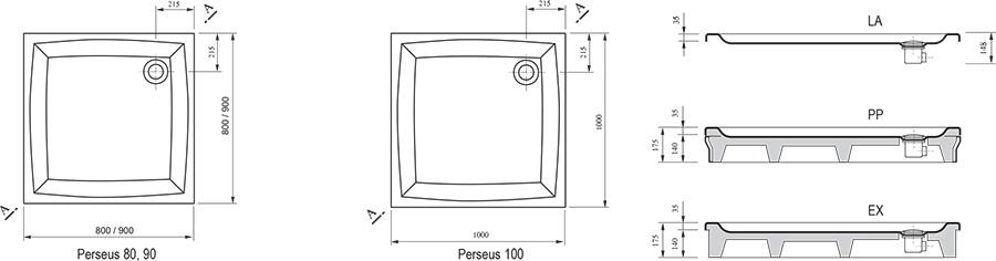 Поддон Ravak  PERSEUS-80 LA белый, A024401210