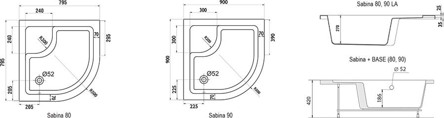 Поддон Ravak SABINA-90 LA белый, A217001020