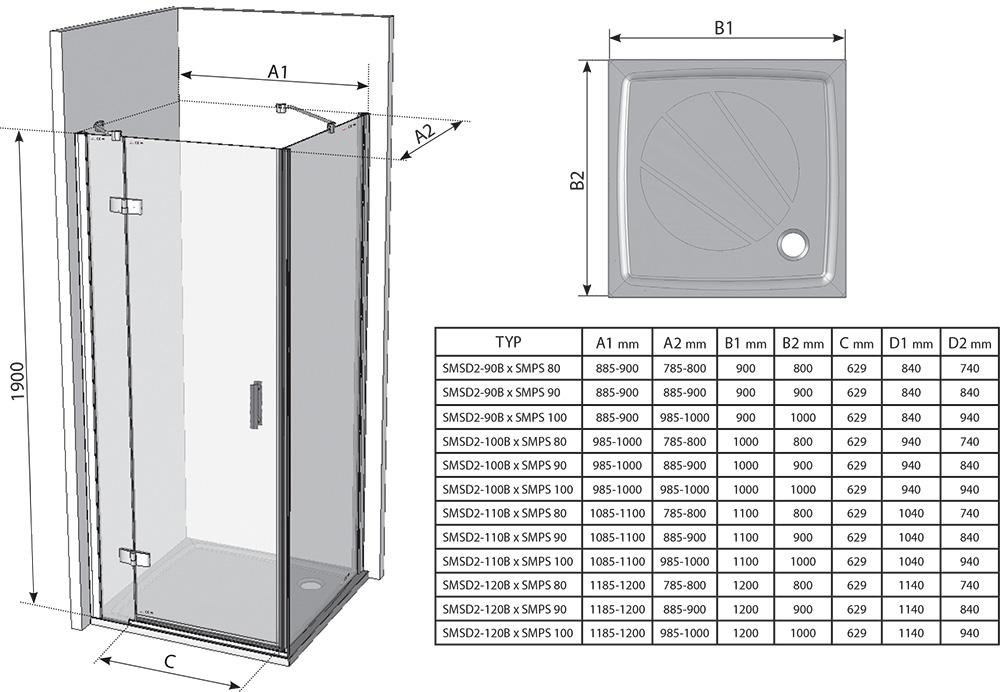 Душевая дверь Ravak Smartline SMSD2-100, тип В, правая, 1000 мм, цвет профиля - хром, витраж - прозрачный, 0SPABA00Z1