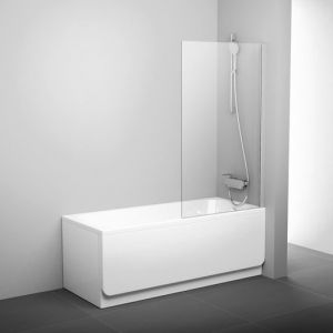 Шторка для ванны Ravak Pivot PVS1-80 , 800 мм, цвет профиля - белый лак, витраж - прозрачный, 79840100Z1