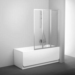 Шторка для ванны Ravak Supernova VS3 130, 1300 мм, цвет профиля - белый лак, витраж - эффект дождя, 795V010041