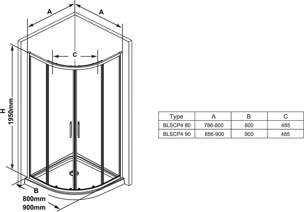 Душевой уголок Ravak BLIX SLIM BLSCP4-80, 800х800 мм, правый, цвет профиля - блестящий, витраж - прозрачный, X3BM40C00Z1