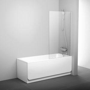 Шторка для ванны Ravak Pivot PVS1-80 , 800 мм, цвет профиля - блестящий, витраж - прозрачный, 79840C00Z1